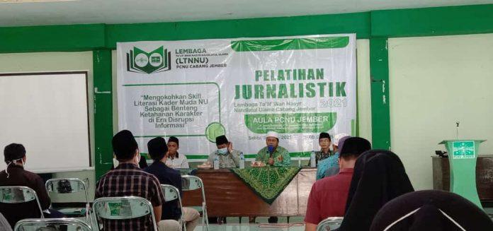 Sutrisno/MWC NU Tempurejo : Pelatihan Jurnalistik yang dilangsungkan di Aula PCNU Jember, Sabtu (30/1/2021)